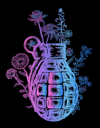 Grenade t-shirt design. On the grenade flowers grow. Symbol of weapon, war and peace, good and evil. Rusty grenade tattoo Иллюстрация
