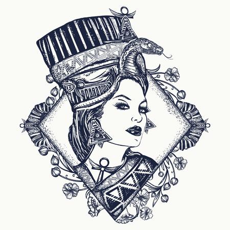 Altes Ägypten Tattoo. Königin von Ägypten Nofretete, Jugendstilfrau. Ägyptische Prinzessin Cvleopatra. Altes Ägypten Frau T-Shirt Design Standard-Bild - 86176577