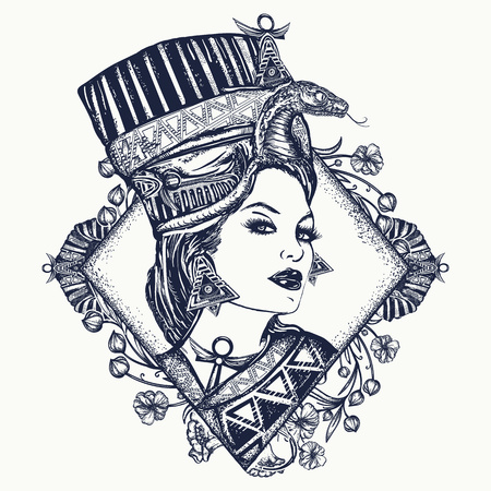 Ancient Egypt tattoo. Queen of Egypt Nefertiti, art nouveau woman. Egyptian princess Cvleopatra. Ancient Egypt woman t-shirt design Illustration