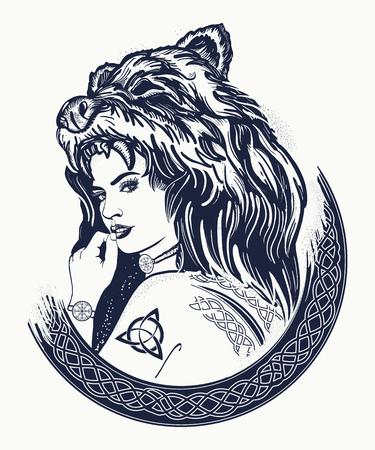 전사 여자 귀영 나팔. 부족의 강한 여자는 곰의 피부에. 스 칸디 나 비아, valhhala, Valkyrie의 상징입니다. 북한의 소녀. 여자 사냥꾼 티셔츠 디자인