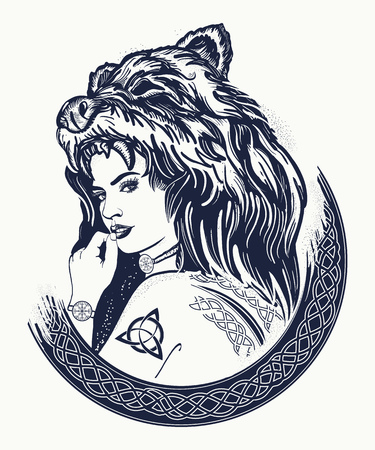 Warrior woman tattoo. Tribal strong woman in a skin of a bear.  Symbol of Scandinavia, valhhala, Valkyrie. Girl of the North. Woman hunter t-shirt design