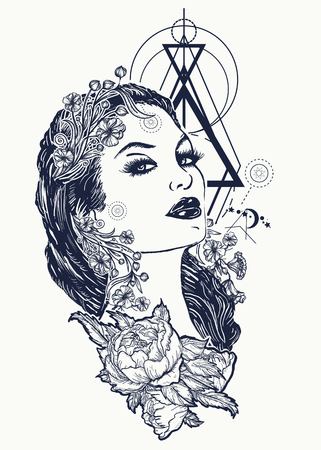 Art nouveau woman tattoo and t-shirt design. Symbol of a retro, queen, princess, lady, elegance, glamour, renaissance. Beautiful glamourous vintage art nouveau  woman tattoo. Noir woman 일러스트