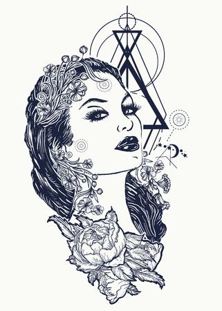 Tatuaje de la mujer del nouveau del arte y diseño de la camiseta. Símbolo de un retro, reina, princesa, dama, elegancia, glamour, renacimiento. Tatuaje atractivo hermoso de la mujer del nouveau del arte del vintage. Mujer negra