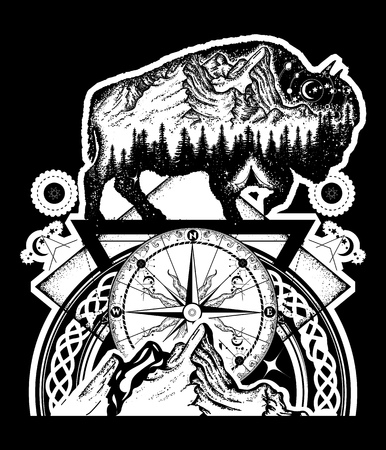 Bison and mountains tattoo art. Buffalo bull travel symbol, adventure tourism. Mountain, forest, night sky. Magic tribal bison double exposure animals black background