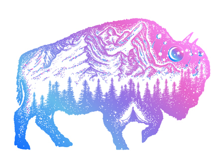 Bison tattoo art. Mountain, forest, night sky. Magic tribal bison double exposure animals. Buffalo bull travel symbol, adventure tourism