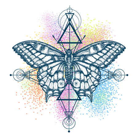 Magic butterfly color tattoo, geometrical style. Beautiful Swallowtail boho t-shirt design. Mystical symbol of freedom, nature, tourism. Realistic butterfly art color tattoo for women Ilustração