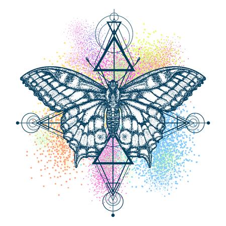Magische vlinder kleur tattoo, geometrische stijl. Mooie Swallowtail boho t-shirt ontwerp. Mystiek symbool van vrijheid, natuur, toerisme. Realistische vlinder kunstkleur tattoo voor vrouwen