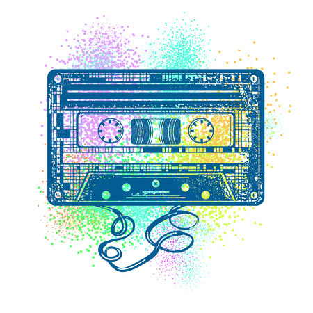 Audio cassette. Retro music concept. Old school style. Audio cassette and color splashes t-shirt design. Poster 80s and 90s 向量圖像
