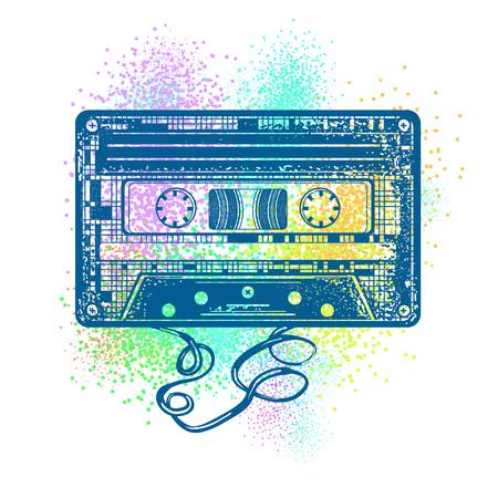 Cinta de audio. Retro concepto de la música. Estilo de la vieja escuela. El cassette audio y el color salpican diseño de la camiseta. Póster 80s y 90s Ilustración de vector