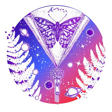 Arte del tatuaje del universo y de la mariposa. Símbolo de esoterismo, galaxia, universo, meditación, misticismo, astrología, sueño. Diseño surrealista de la camiseta del universo, del planeta y de la estrella