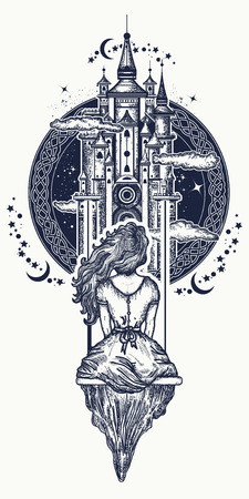Magic girl tattoo and t-shirt design. Medieval castle and girl on swing flies to sky tattoo art. Symbol of dream, love, imagination, adventures, fairy tale