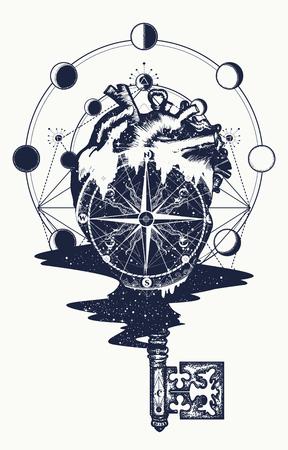 심장 및 빈티지 키 문신 및 T- 셔츠 디자인. 심장 steampunk 문신, 기하학적 스타일의 나침반. 여행 및 사랑 벡터의 상징입니다. 초현실적 인 해부학적인 심