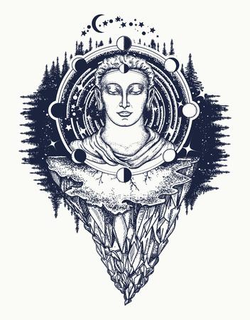 깊은 공간 t- 셔츠 디자인에 부처님입니다. 불멸, 계몽, 종교, 마술의 상징. 우주 신. 영혼의 신성한 기호 중생, 불교 문신. 부처님 얼굴 문신 예술