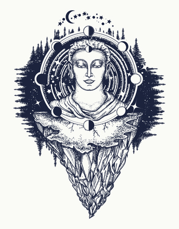 Buddha in deep space t-shirt design. Symbol of immortality, enlightenment, religion, magic. Space god. Sacred sign rebirth of the soul, Buddhism tattoo. Buddha face tattoo art