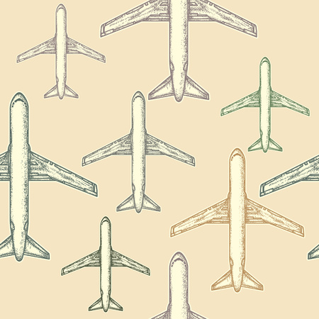 Air plane seamless pattern. Seamless background pattern with airplanes vintage hand drawn vector