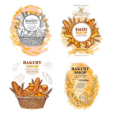 Bakery bread and rolls in wicker basket collection fresh pastries templates hand drawn vector Çizim