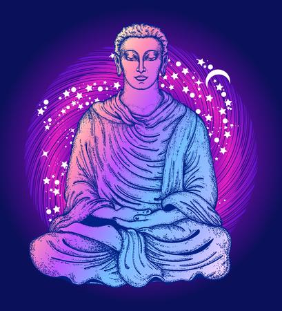 仏タトゥーや t シャツをデザインします。蓮のポーズで仏。シンボル瞑想、ヨガ、精神世界、宗教。光の光線で魔法のツリーの下で黄金の仏像。仏
