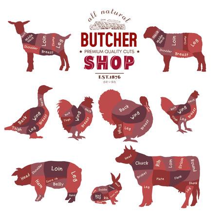 Butcher shop collection. Butcher shop set. Farm animals silhouette. Cow, rabbit, sheep, pig, goat, goose, duck, turkey, diagrams meat vector illustration