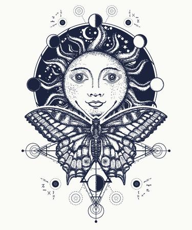 마법의 중세 태양과 나비 문신과 티셔츠 디자인. 태양 문신 예술. 달 단계. 태양, 달 위상 색칠하기 책의 중세 화학 기호. 신성한 기하학 태양