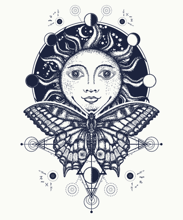 Magic medieval sun and butterfly tattoo and t-shirt design. Sun tattoo art. Moon phases. Medieval alchemical symbol of the sun, moon phases coloring book. Sacred Geometry sun Ilustrace