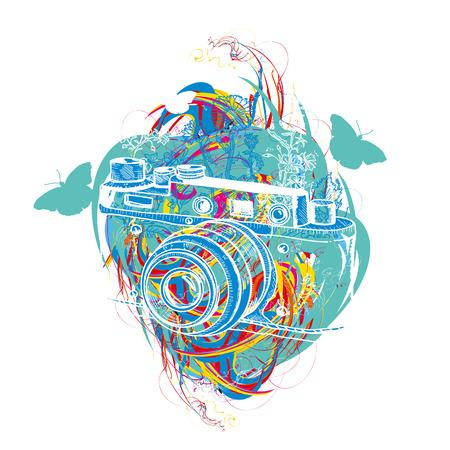 Travel tattoo and t-shirt design. Vintage camera summer adventure creative art Illustration