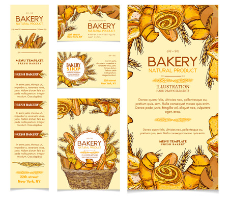 Bakery products set, restaurant menu page template bakery vector illustration