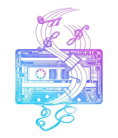 Audio cassette tattoo en t-shirt ontwerp. Audio cassette en muzieknoten. Symbool van retro muziek, nostalgie, 80ste en 90ste. Oude audio cassette en muzieknoten, popmuziek, disco t-shirt ontwerp