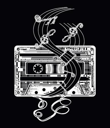 Audio cassette and music notes tattoo and t-shirt design. Symbol of retro music, nostalgia, 80th and 90th. Old audio cassette and music notes, symbol of pop music, disco t-shirt design