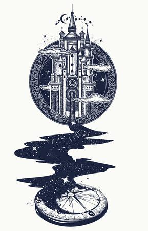 Art de tatouage château magique, rivière des étoiles, symbole de la psychologie, tourisme, voyage. Motivation du concept surréaliste, magie. Boussole étoilée Conception magique de t-shirt de château de rêves