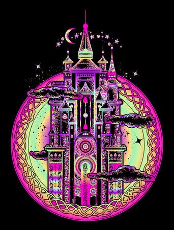 Middeleeuwse de kunst zwarte achtergrond van de kasteeltatoegering. Symbool van het sprookje, droom, magie. Middeleeuws kasteel t-shirt ontwerp