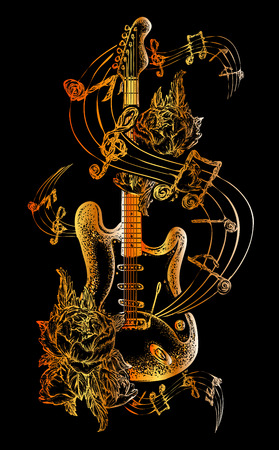 Guitar tattoo. Electric guitar, roses and music notes. Rock and roll t-shirt design. Symbol of rock music, musical festivals. Electric guitar tattoo art print