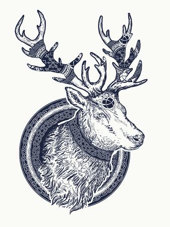 Hirsch Tattoo und T-Shirt Design Vektorgrafik
