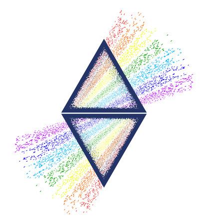 분산. 삼각형 문신과 티셔츠 디자인. 삼각 프리즘은 흰색 광선을 무지개 스펙트럼 색상으로 나눕니다. 삼각 프리즘 문신을 통과하는 빛