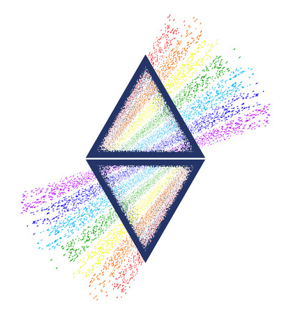 Dispersion. Triangle tattoo and t-shirt design. Triangular prism breaks white light ray into rainbow spectral colors. Light passing through a triangular prism tattoo