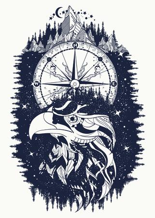 Diseño de camiseta y tatuaje de brújula y águila. Estilo tribal halcón étnico. Símbolos astrológicos, estilo étnico, halcón en el tatuaje de rocas. Diseño de camiseta creativa águila, espiritualidad, boho, símbolo mágico