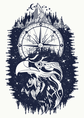 Compass and eagle tattoo and t-shirt design. Ethnic hawk tribal style. Astrological symbols, ethnic style, falcon in rocks tattoo. Eagle creative t-shirt design, spirituality, boho, magic symbol