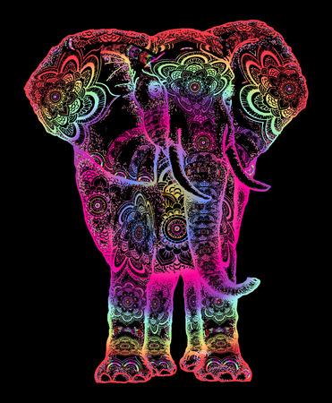 Tatouage d'éléphant. Symbole de la méditation, de l'amour, de la liberté, de la recherche spirituelle. Boho éléphant conception de tatouage et de t-shirt. Ornement sacré décoratif éléphant coloré Vecteurs