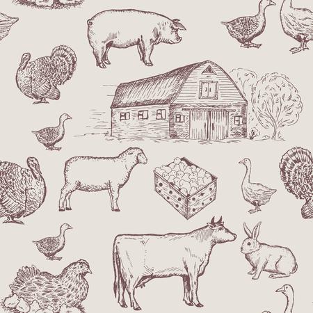 ファーム動物のシームレスなパターン、牛、ガチョウ、鶏。ファームの市場パターン