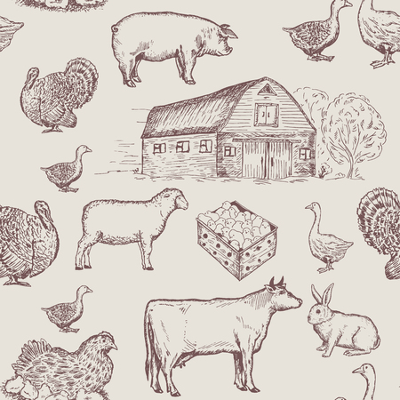 Farm animals seamless pattern, cows, geese, chickens. Farm market pattern