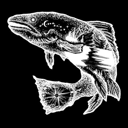 생선 문신과 티셔츠 디자인. 송어 이중 노출 문신 예술과 티셔츠 디자인. 낚시, 관광, 야생의 자연, 야외, 여행의 상징. 연어 이중 노출 문신