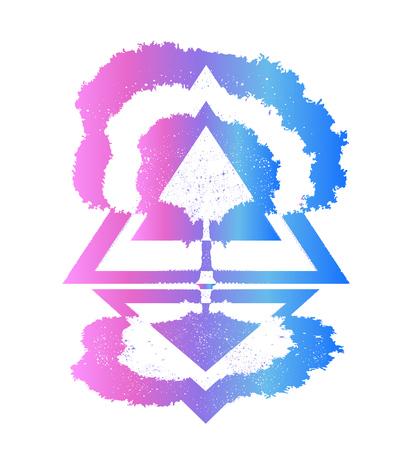 마법 나무 문신과 티셔츠 디자인. 심리학, 대칭, 철학,시의 상징. 생명의 나무 문신 예술, 삶과 죽음의 상징. 인간 영혼의 불멸의 신비한 표시