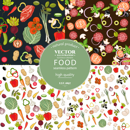 Food pattern collection. Fresh vegetables seamless pattern