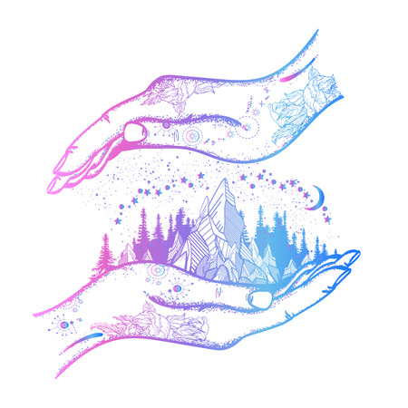 Hand and mountains tattoo and t-shirt design.Symbol of travel, tourism, meditation. Mountains boho style, t-shirt design, surreal graphics tattoo