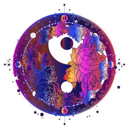매직 서클 문신과 티셔츠 디자인. 꽃 음과 양 명상적인 색상의 문신 예술. Boho 작풍, 명상 상징, 철학, 조화 귀영 나팔. 음과 양 표지