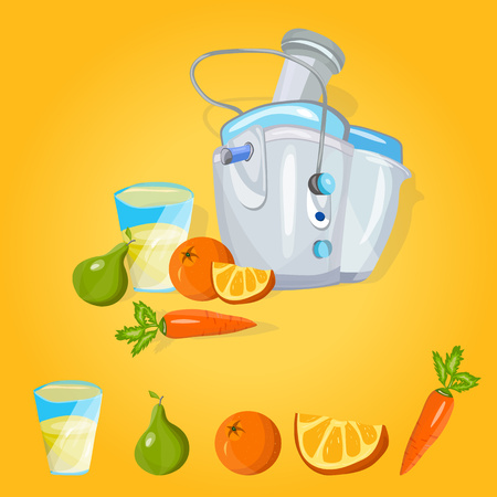 Juice extractor vector. Juicer machine. Process preparation fresh juice in juicer