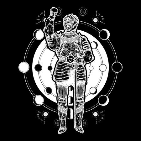 Art de tatouage de chevalier médiéval. Symbole ésotérique guerre ancienne, phases lunaires. Motifs alchimiques, géométrie sacrée. Conception de t-shirt templier chevalier médiéval