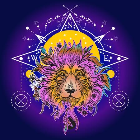 Middeleeuwse mystieke Leeuw tattoo art. Alchemie, religie, spiritualiteit, occultisme, tattoo-leeuwenkunst en t-shirtontwerp Stock Illustratie