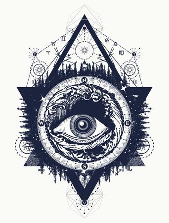 Todo lo que ve el tatuaje del ojo, el turismo en un vector de estilo místico. Eye of the storm art camiseta de diseño. Alquimia, espiritualidad, religión, ocultismo, arte del tatuaje esotérico