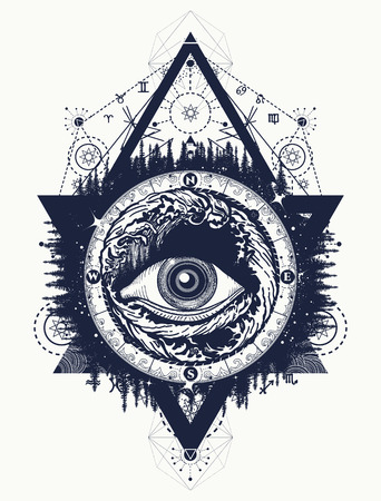 All seeing eye tattoo, tourism in a mystical style vector. Eye of the storm art t-shirt design. Alchemy, spirituality, religion, occultism, esoteric tattoo art Vettoriali