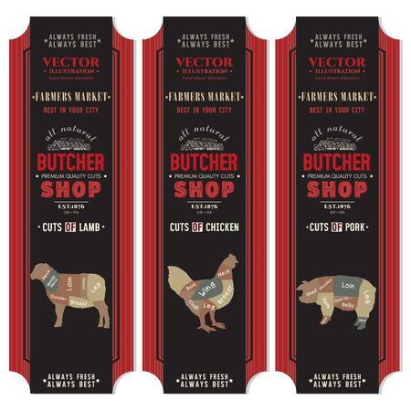 Butcher shop banner. Butcher shop, meat chicken, pork, lamb, vector dark black banners